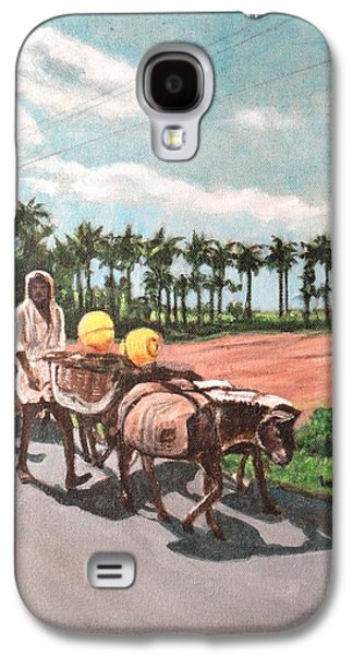 Midday Paintings Galaxy S4 Cases - The Herd 4 -Donkey Herd Galaxy S4 Case by Usha Shantharam