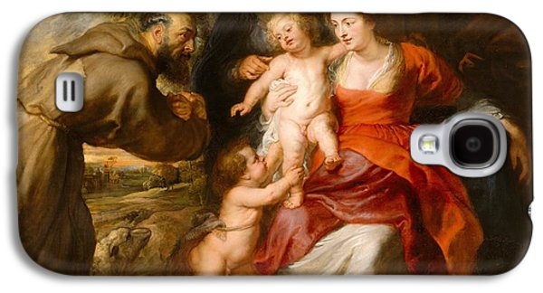 Peter Paul (1577-1640) Galaxy S4 Cases - The Holy Family with Saints Francis and Anne and the Infant Saint John the Baptist Galaxy S4 Case by Celestial Images