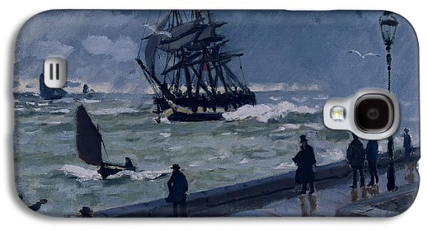 Rain Storm Galaxy S4 Cases - The Jetty at Le Havre in Bad Weather Galaxy S4 Case by Claude Monet