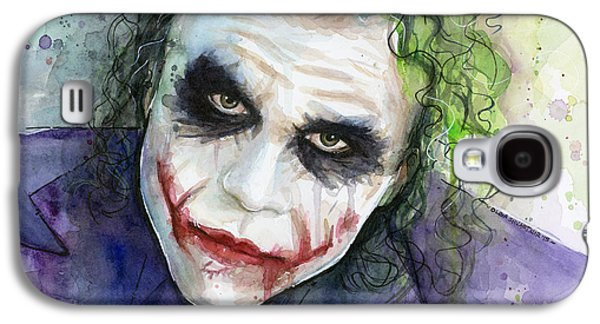 The Joker Watercolor Galaxy S4 Case by Olga Shvartsur