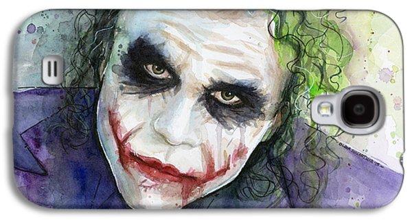 Dark Galaxy S4 Cases - The Joker Watercolor Galaxy S4 Case by Olga Shvartsur