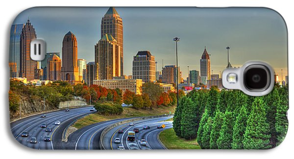 Transportation Photographs Galaxy S4 Cases - The Atlanta Line Up Autumn Sunset Reflections Galaxy S4 Case by Reid Callaway
