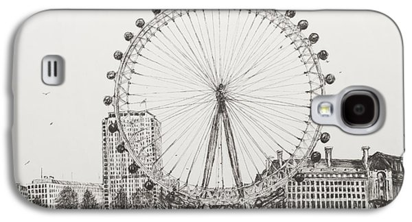 Pen And Ink Drawing Drawings Galaxy S4 Cases - The London Eye Galaxy S4 Case by Vincent Alexander Booth