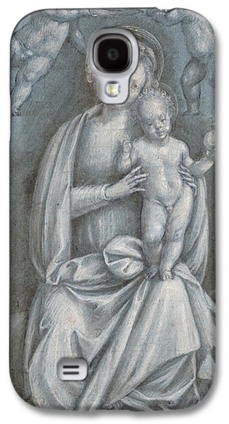 Jesus Pastels Galaxy S4 Cases - The Madonna and Child Crowned by two Angels Galaxy S4 Case by Bernardino Lanino