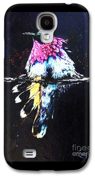 Black Bird.flying Paintings Galaxy S4 Cases - The Magic Of Hummingbirds Galaxy S4 Case by Lucy Max