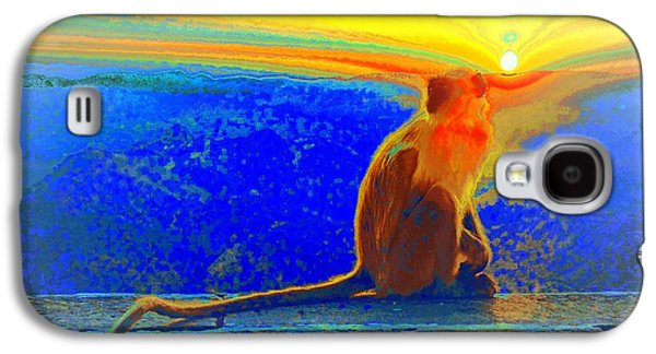 Sunset Abstract Galaxy S4 Cases - The Monkey Who Stole My Sunset Primary Colors Abstract 1a Galaxy S4 Case by Sue Jacobi