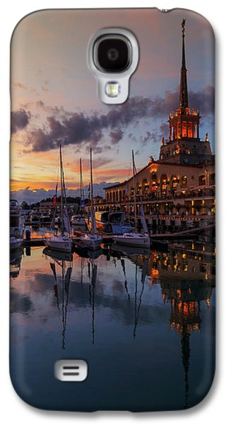 the nautical station and the yacht on the main sea channel of the Sochi seaport Galaxy S4 Case by George Westermak