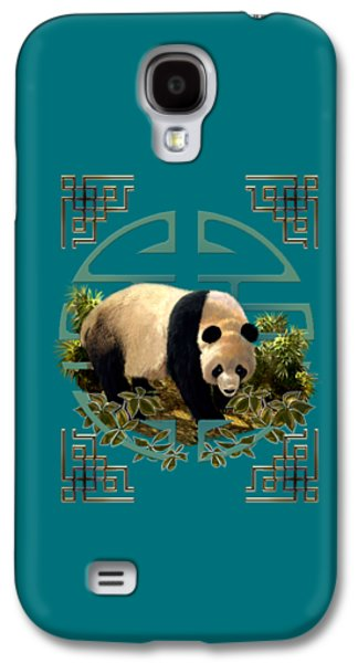 Ancient Paintings Galaxy S4 Cases - The panda bear and the Great Wall of China Galaxy S4 Case by Gina Femrite