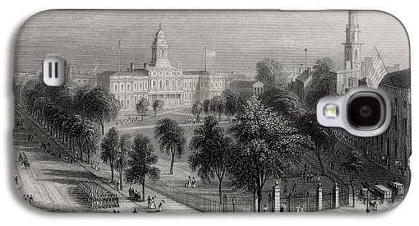 Park Scene Drawings Galaxy S4 Cases - The Park And City Hall New York Usa Galaxy S4 Case by Ken Welsh
