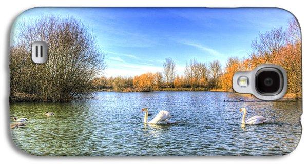 Swan Pair Galaxy S4 Cases - The Peaceful Swan Lake Galaxy S4 Case by David Pyatt