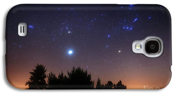 Constellations Galaxy S4 Cases - The Pleiades, Taurus And Orion Galaxy S4 Case by Luis Argerich