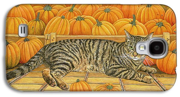 Orange Tabby Paintings Galaxy S4 Cases - The Pumpkin Cat Galaxy S4 Case by Ditz