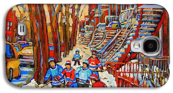 Quebec Streets Paintings Galaxy S4 Cases - The Red Staircase Painting By Montreal Streetscene Artist Carole Spandau Galaxy S4 Case by Carole Spandau