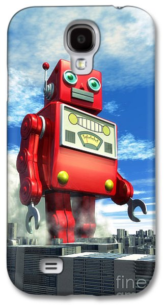 The Red Tin Robot And The City Galaxy S4 Case by Luca Oleastri