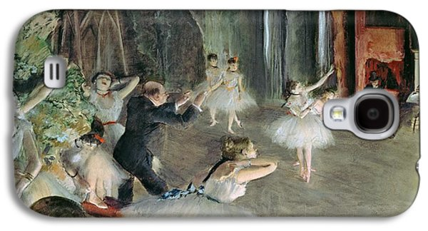 Tutus Paintings Galaxy S4 Cases - The Rehearsal of the Ballet on Stage Galaxy S4 Case by Edgar Degas