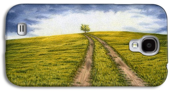 Autumn Landscape Drawings Galaxy S4 Cases - The Road Less Traveled Galaxy S4 Case by Sarah Batalka