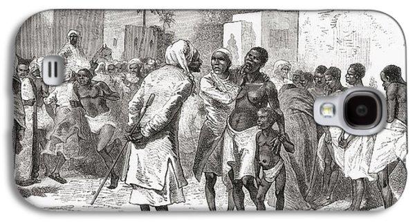 Slaves Drawings Galaxy S4 Cases - The Slave Market In Zanzibar, Tanzania Galaxy S4 Case by Ken Welsh