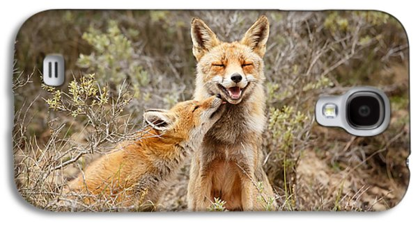 Fox Kit Galaxy S4 Cases - The Smiling Vixen and the Happy Kit Galaxy S4 Case by Roeselien Raimond