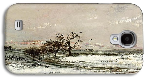 Crows Paintings Galaxy S4 Cases - The Snow Galaxy S4 Case by Charles Francois Daubigny