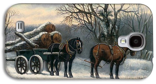 The Timber Wagon In Winter Galaxy S4 Case by Anonymous
