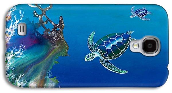 Recently Sold -  - Angel Mermaids Ocean Galaxy S4 Cases - The Twin Turtles of Oceania Galaxy S4 Case by Lee Pantas