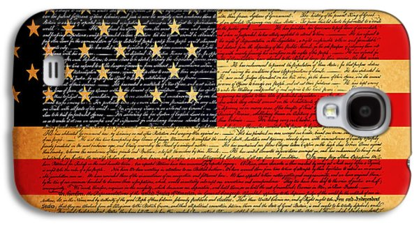 4th July Digital Galaxy S4 Cases - The United States Declaration of Independence - American Flag - square Galaxy S4 Case by Wingsdomain Art and Photography