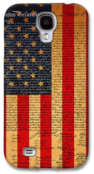 4th July Galaxy S4 Cases - The United States Declaration of Independence And The American Flag 20130215 Galaxy S4 Case by Wingsdomain Art and Photography
