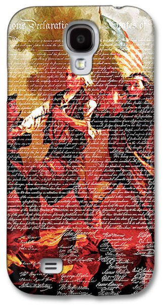 4th July Galaxy S4 Cases - The United States Declaration of Independence And The Spirit of 76 20150704v3 Galaxy S4 Case by Wingsdomain Art and Photography