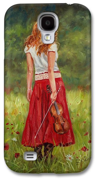 Girl Galaxy S4 Cases - The Violinist Galaxy S4 Case by David Stribbling