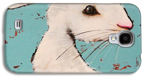Fence Paintings Galaxy S4 Cases - The White Rabbit Galaxy S4 Case by Lucia Stewart