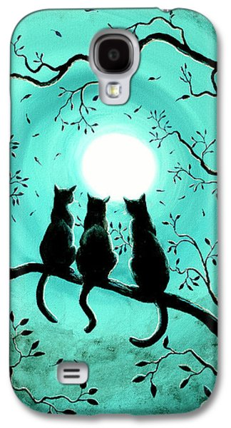 Three Black Cats Under A Full Moon Galaxy S4 Case by Laura Iverson