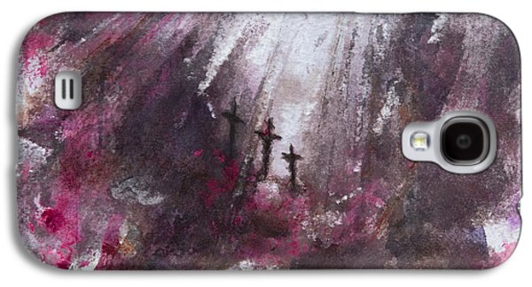 Crucifixtion Galaxy S4 Cases - Three Crosses Galaxy S4 Case by Rachel Christine Nowicki