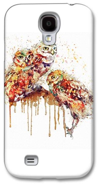 Three Cute Owls Watercolor Galaxy S4 Case by Marian Voicu