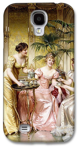 Sisters Paintings Galaxy S4 Cases - Three for Tea Galaxy S4 Case by Joseph Frederic Charles Soulacroix