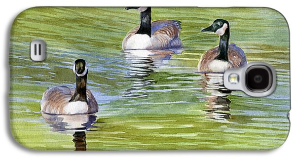 Water Fowl Galaxy S4 Cases - Three Geese with Pond Reflections Galaxy S4 Case by Sharon Freeman