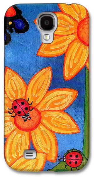 Three Ladybugs And Butterfly Galaxy S4 Case by Genevieve Esson