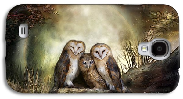 Animals Mixed Media Galaxy S4 Cases - Three Owl Moon Galaxy S4 Case by Carol Cavalaris