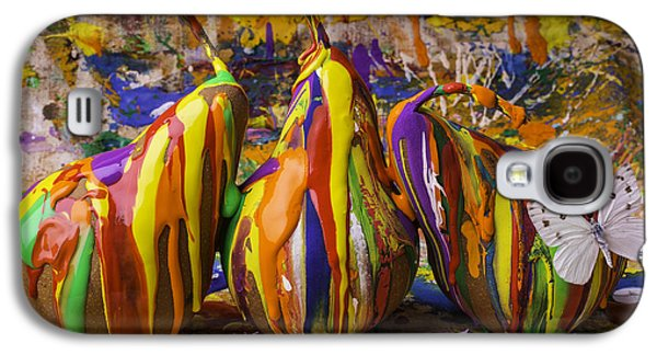Mess Photographs Galaxy S4 Cases - Three Painted Pears And Butterfly Galaxy S4 Case by Garry Gay