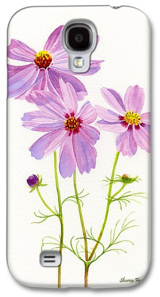 Cosmos Paintings Galaxy S4 Cases - Three Pink Cosmos Blossoms 2 Galaxy S4 Case by Sharon Freeman
