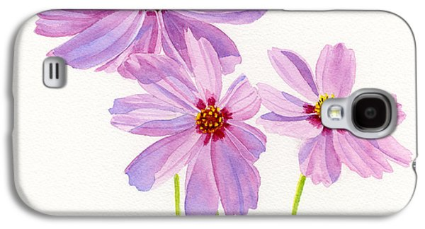 Cosmos Paintings Galaxy S4 Cases - Three Pink Cosmos Blossoms Square Design Galaxy S4 Case by Sharon Freeman
