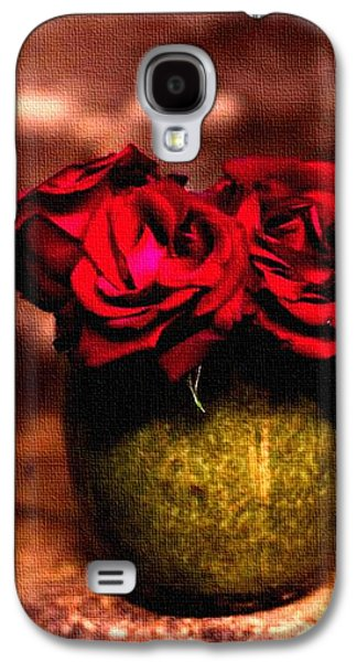 Abstract Digital Pastels Galaxy S4 Cases - Three Red Roses H a Galaxy S4 Case by Gert J Rheeders