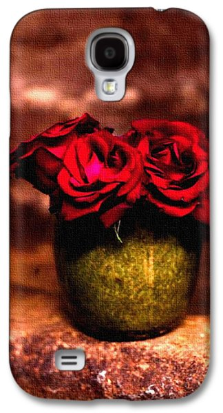 Abstract Digital Pastels Galaxy S4 Cases - Three Red Roses H b Galaxy S4 Case by Gert J Rheeders