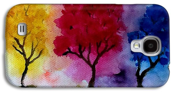 Surreal Landscape Galaxy S4 Cases - Three Trees Galaxy S4 Case by Jennie Hallbrown