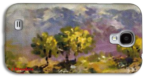 Abstract Digital Pastels Galaxy S4 Cases - Three Trees on a Hill H a Galaxy S4 Case by Gert J Rheeders