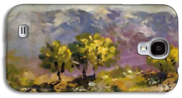 Abstract Digital Pastels Galaxy S4 Cases - Three Trees on a Hill H b Galaxy S4 Case by Gert J Rheeders