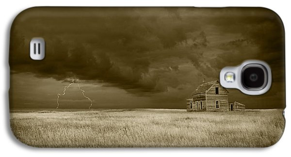 Selenium Galaxy S4 Cases - Thunderstorm on the Prairie in Sepia Galaxy S4 Case by Randall Nyhof
