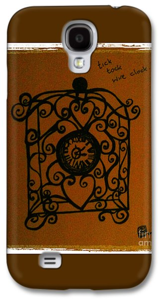 Kim Drawings Galaxy S4 Cases - Tick Tock Wire Clock Galaxy S4 Case by Kim Magee