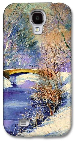 Beautiful Creek Paintings Galaxy S4 Cases - Tiergarten In Winter Galaxy S4 Case by Lesser Ury