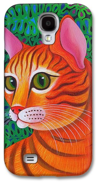 Orange Tabby Paintings Galaxy S4 Cases - Tiger Cat Galaxy S4 Case by Jane Tattersfield