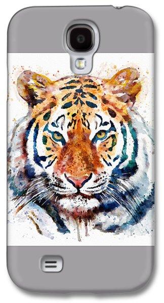 Tiger Head Watercolor Galaxy S4 Case by Marian Voicu
